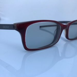 DKNY Women Eyeglass Frame Metal Legs Red Plastic F
